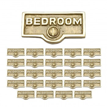<PRE>25 Switch Plate Tags BEDROOM Name Signs Labels Lacquered Brass </PRE>zoom1