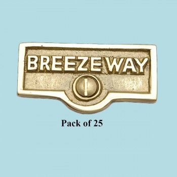 <PRE>25 Switch Plate Tags BREEZEWAY Name Signs Labels Solid Brass </PRE>zoom2