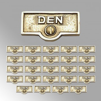 <PRE>25 Switch Plate Tags DEN Name Signs Labels Lacquered Brass </PRE>zoom2