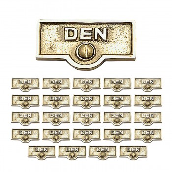 <PRE>25 Switch Plate Tags DEN Name Signs Labels Lacquered Brass </PRE>zoom1