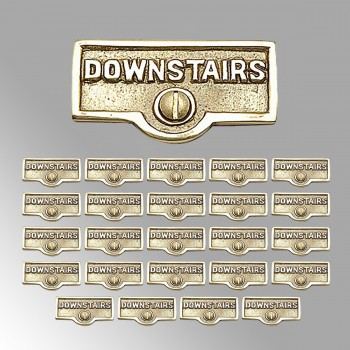 <PRE>25 Switch Plate Tags DOWNSTAIRS Name Signs Labels Brass </PRE>zoom2
