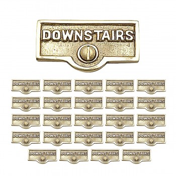 <PRE>25 Switch Plate Tags DOWNSTAIRS Name Signs Labels Brass </PRE>zoom1