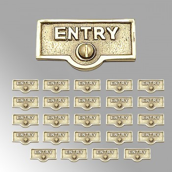 <PRE>25 Switch Plate Tags ENTRY Name Signs Labels Lacquered Brass </PRE>zoom2