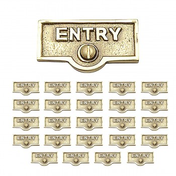 <PRE>25 Switch Plate Tags ENTRY Name Signs Labels Lacquered Brass </PRE>zoom1