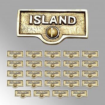 <PRE>25 Switch Plate Tags ISLAND Name Signs Labels Lacquered Brass </PRE>zoom2