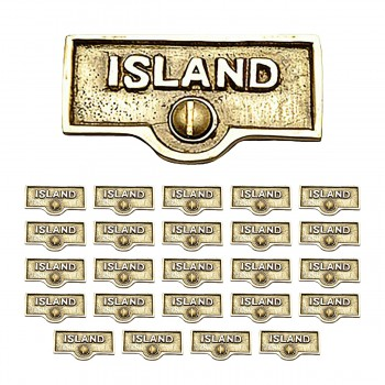 <PRE>25 Switch Plate Tags ISLAND Name Signs Labels Lacquered Brass </PRE>zoom1