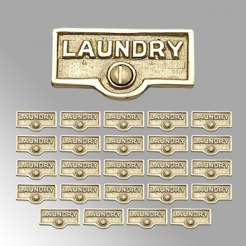 <PRE>25 Switch Plate Tags LAUNDRY Name Signs Labels Lacquered Brass </PRE>zoom2