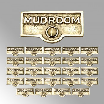 spec-<PRE>25 Switch Plate Tags MUDROOM Name Signs Labels Lacquered Brass </PRE>