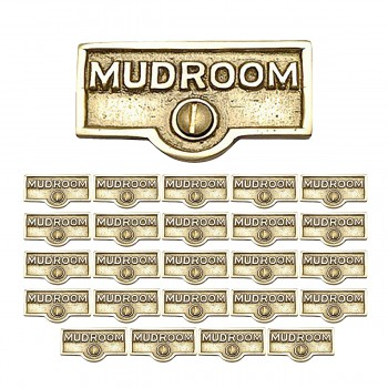 <PRE>25 Switch Plate Tags MUDROOM Name Signs Labels Lacquered Brass </PRE>zoom1