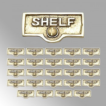 <PRE>25 Switch Plate Tags SHELF Name Signs Labels Lacquered Brass </PRE>zoom2