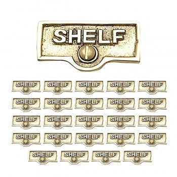 <PRE>25 Switch Plate Tags SHELF Name Signs Labels Lacquered Brass </PRE>zoom1