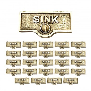 <PRE>25 Switch Plate Tags SINK Name Signs Labels Lacquered Brass </PRE>zoom1