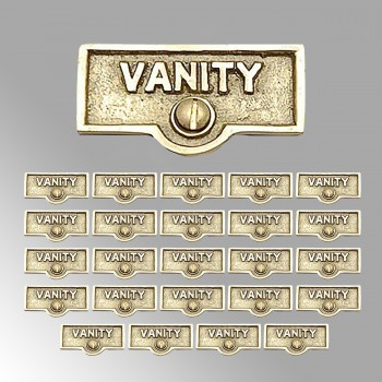 spec-<PRE>25 Switch Plate Tags VANITY Name Signs Labels Lacquered Brass </PRE>