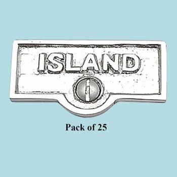 spec-<PRE>25 Switch Plate Tags ISLAND Name Signs Labels Chrome Brass </PRE>