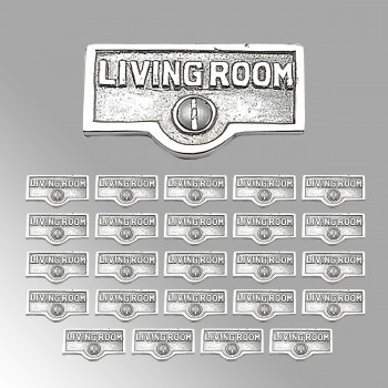<PRE>25 Switch Plate Tags LIVING ROOM Name Sign Labels Chrome Brass </PRE>zoom2