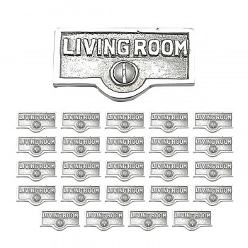 <PRE>25 Switch Plate Tags LIVING ROOM Name Sign Labels Chrome Brass </PRE>zoom1
