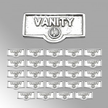 spec-<PRE>25 Switch Plate Tags VANITY Name Signs Labels Chrome Brass </PRE>