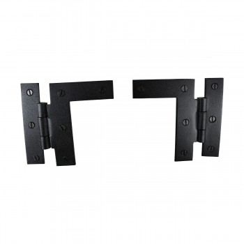 "<PRE>Pair Left and Right H-L Wrought Iron Cabinet Hinge 3.5inch H, 3/8"" Offset Pack of 4</PRE>zoom6"