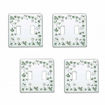 4 White Porcelain Ivy Double Toggle switch plate