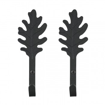 2 Kitchen Hook Wrought Iron Leaf Shape Black