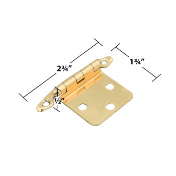 "spec-<PRE>4 Cabinet Hinge Semi-concealed Solid Brass 1.75"" W </PRE>"
