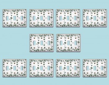 10 Switch Plate White Porcelain Ivy Triple Toggle Switch Switch Plate Wall Plates Switch Plates