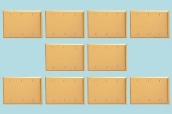 <PRE>10 Switchplate Brushed Brass Beveled Triple Blank </PRE>zoom2