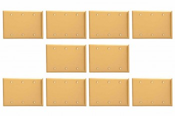 <PRE>10 Switchplate Brushed Brass Beveled Triple Blank </PRE>zoom1