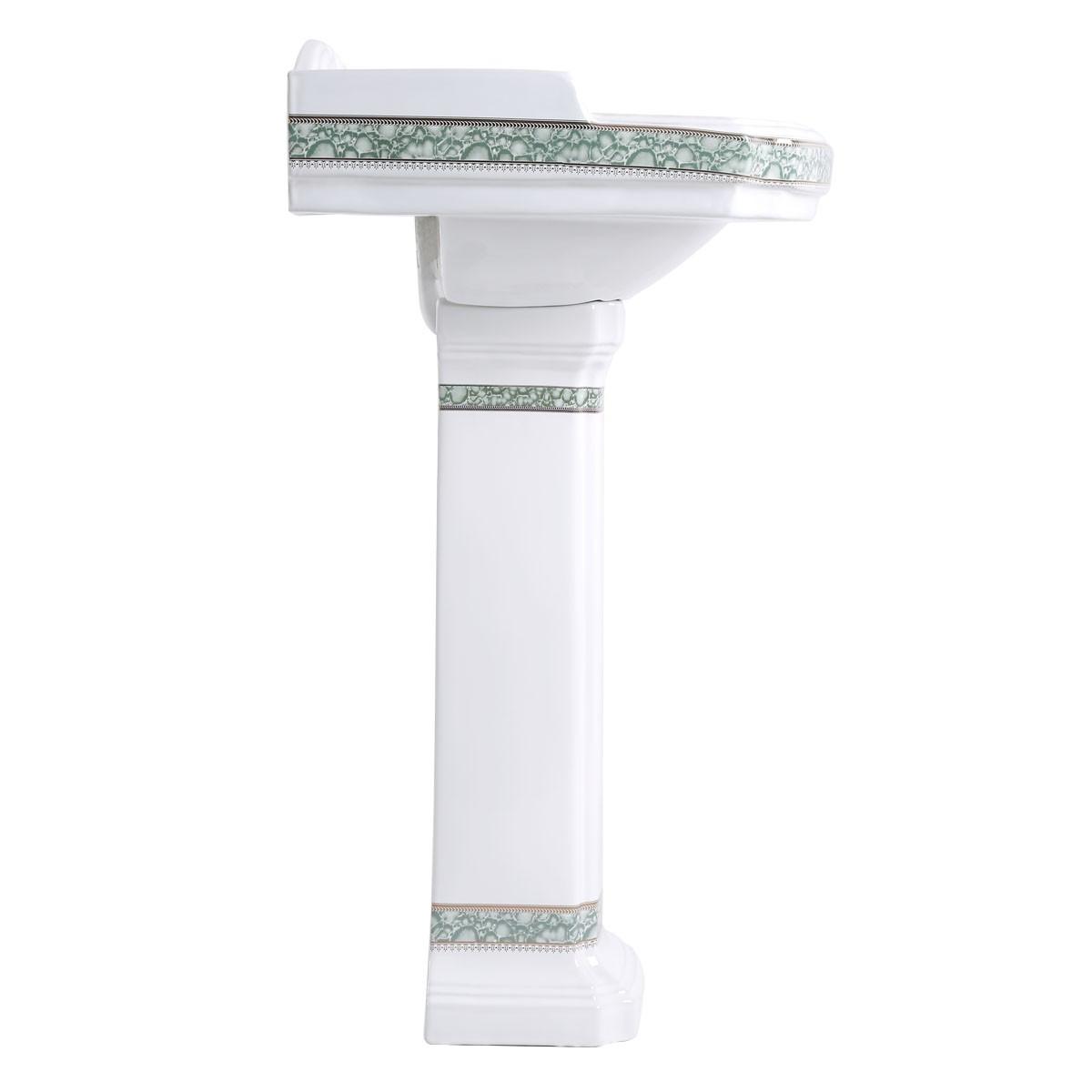 India Reserve Bathroom Pedestal Sink White Porcelain Green