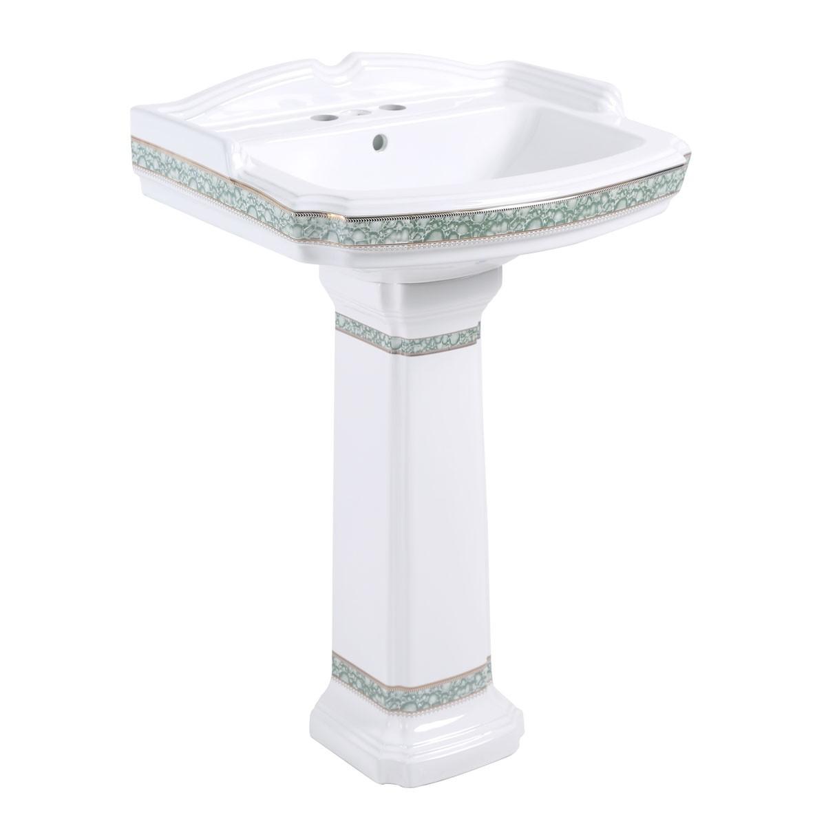 Etonnant ... U003cPREu003eIndia Reserve Bathroom Pedestal Sink White Porcelain Green And  Gold Rensupu003c/ ...