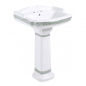 India Reserve Bathroom Pedestal Sink White Porcelain Green and Gold Rensup49355grid