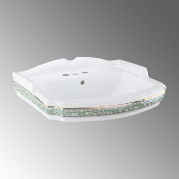 India Reserve Bathroom Sink Green and Gold Basin Only