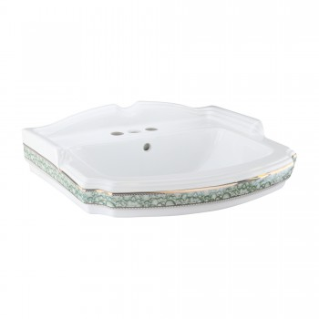 India Reserve Bathroom Sink Green and Gold Basin Only49357grid