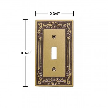 spec-<PRE>10 Victorian Switch Plate Single Toggle / Dimmer Antique Brass</PRE>