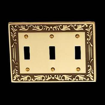 <PRE>10 Victorian Switch Plate Triple Toggle Antique Solid Brass </PRE>zoom3