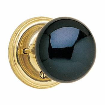 Privacy Set Door Knob Set Black Porcelain 2 3/8'' Backset 50019grid