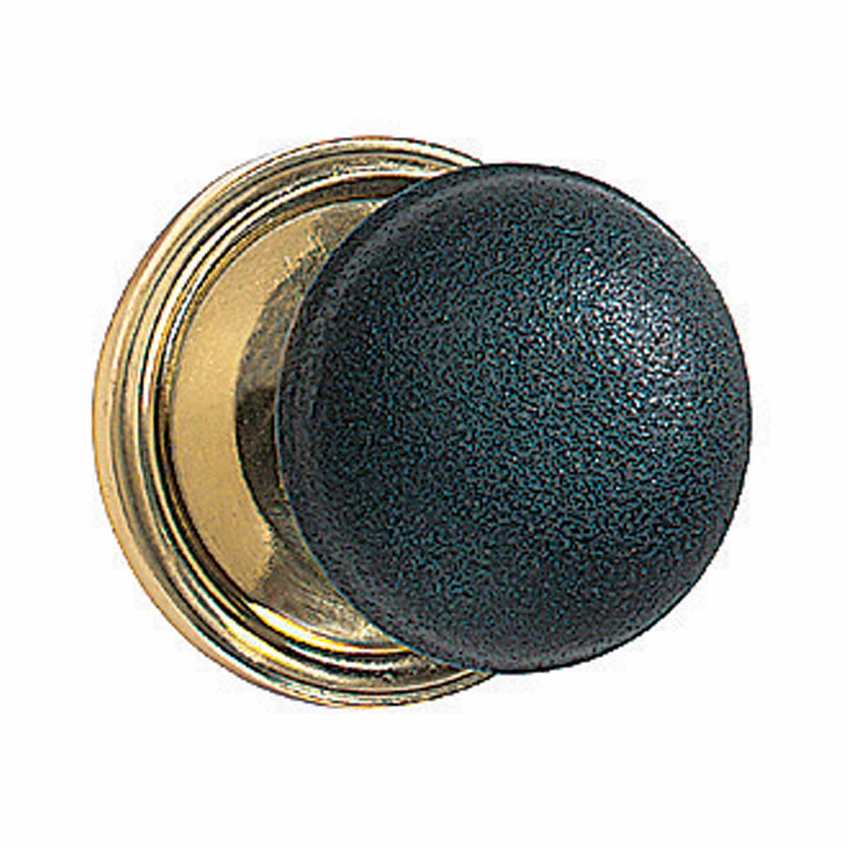 Pair Black Solid Brass Door Knob Brass Shanks