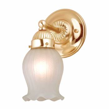 Wall Sconce Bright Brass Frosted Lily Shade 50083grid
