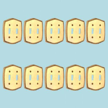 10 Switchplate Bright Solid Brass Double Toggle Switch Plate Wall Plates Switch Plates
