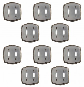 10 Colonial Chrome 5 1/4 in. H Braided Double Toggle Switch Plate