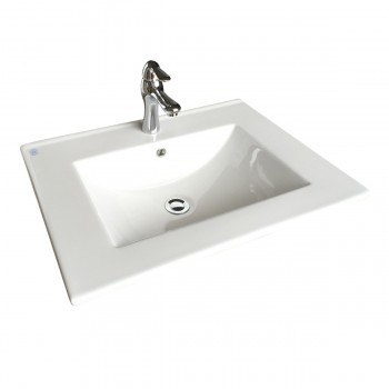 Square White Bathroom Sink with Faucet and Drain Drop In Self Rimming