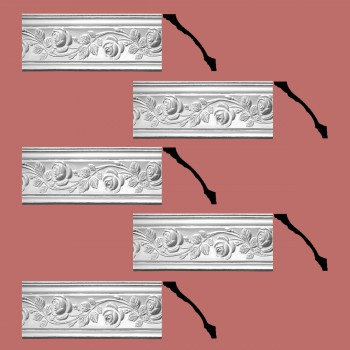 Renovators Supply Cornice White Urethane Bridge Of Flowers Ornate  5 Pieces Totaling 385 Length White PrePrimed Urethane Crown Cornice Molding Cornice Crown Home Depot Ekena Millwork Molding Wall Ceiling Corner Cornice Crown Cove Molding