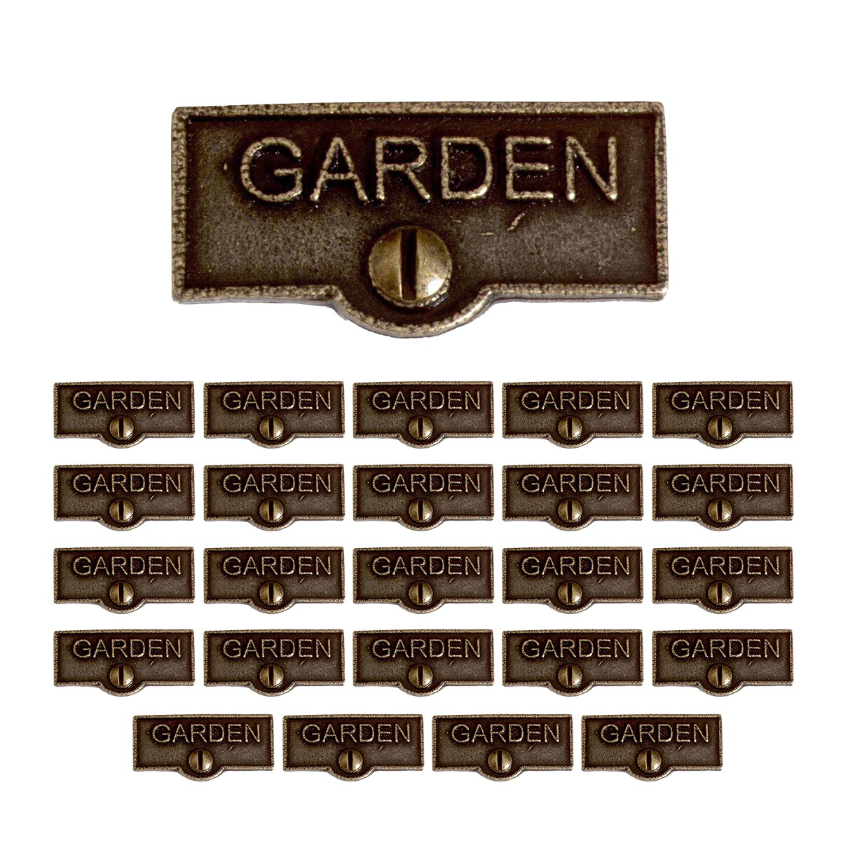 25 Switch Plate Tags GARDEN Name Signs Labels Cast Brass