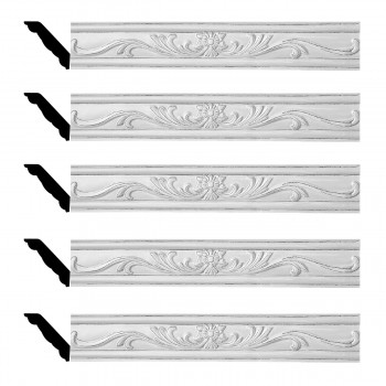<PRE>Renovator's Supply Ornate Cornice White Urethane Ava Design 5 Pieces Totaling 396.25inch Length</PRE>zoom1