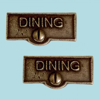 <PRE>2 Switch Plate Tags DINING Name Signs Labels Cast Brass </PRE>zoom2