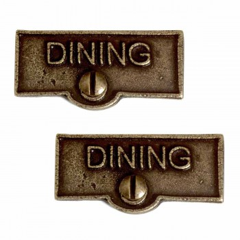 <PRE>2 Switch Plate Tags DINING Name Signs Labels Cast Brass </PRE>zoom1