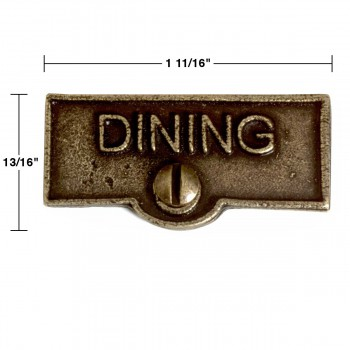 spec-<PRE>2 Switch Plate Tags DINING Name Signs Labels Cast Brass </PRE>