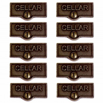 10 Switch Plate Tags CELLAR Name Signs Labels Cast Brass Switch Plate Labels Switch Plate ID Labels Switch Plate Label