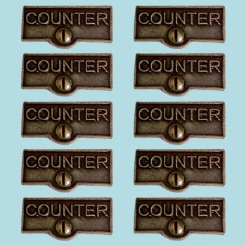<PRE>10 Switch Plate Tags COUNTER Name Signs Labels Cast Brass </PRE>zoom2