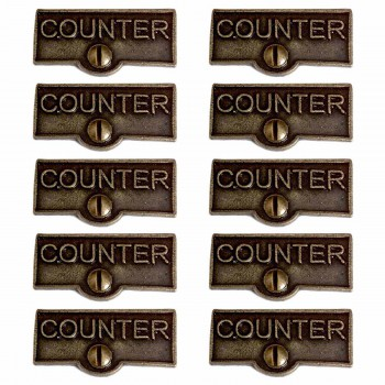 <PRE>10 Switch Plate Tags COUNTER Name Signs Labels Cast Brass </PRE>zoom1